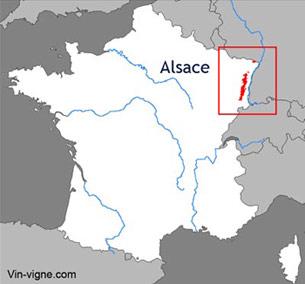 Carte du vignoble d'Alsace