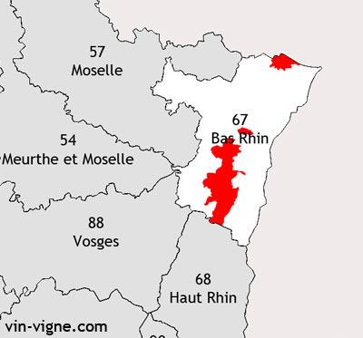 Localisation de la région viticole du Bas-rhin