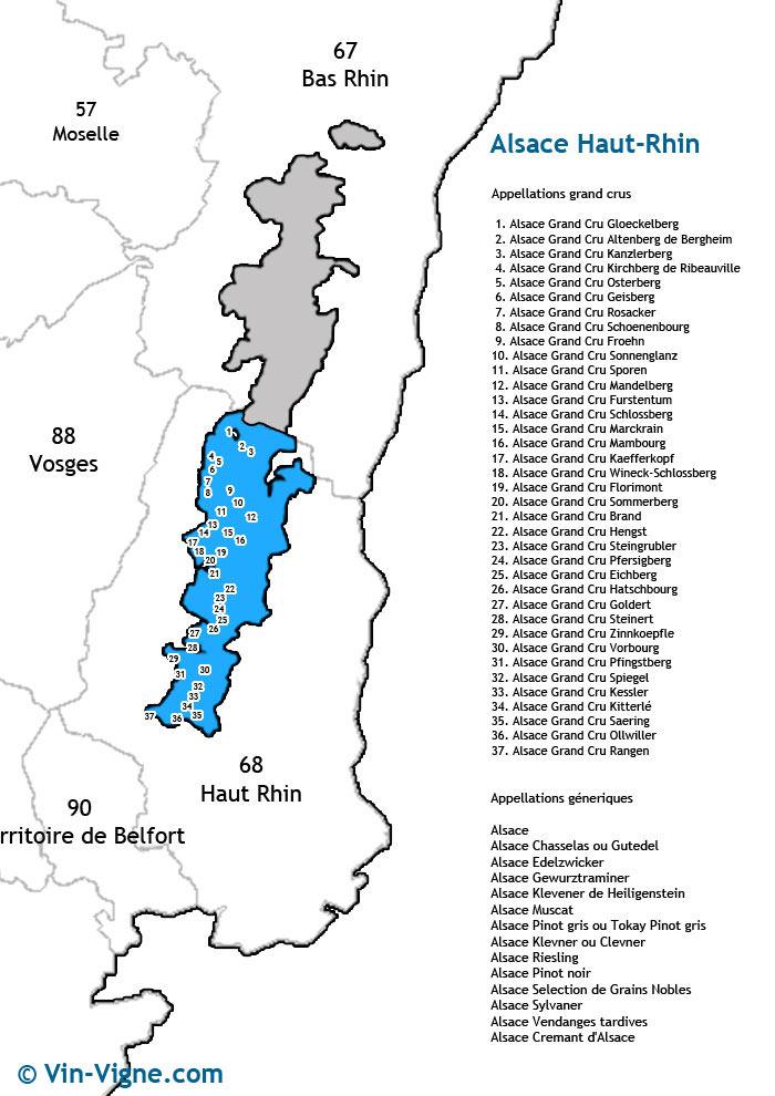 carte des vins du haut-rhin