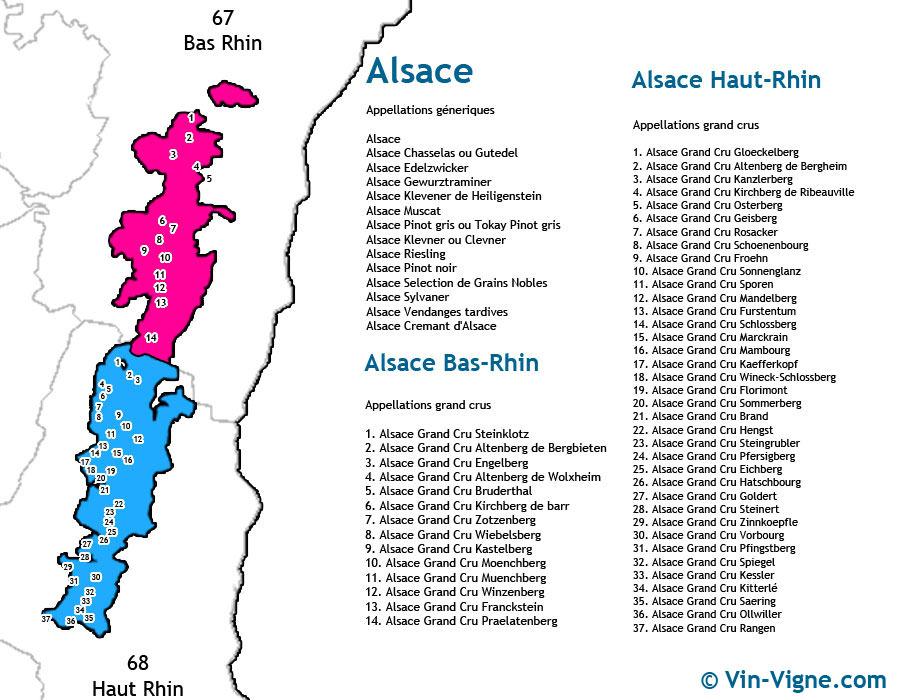carte des vins Alsace