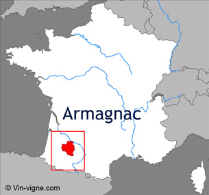 Carte viticole du vignoble d'Armagnac