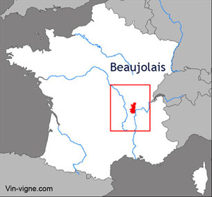 Carte viticole du vignoble du Beaujolais