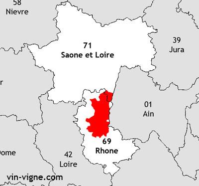 Localisation de la région viticole du Beaujolais