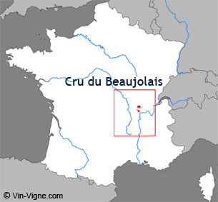 Carte de la région viticole des Crus du beaujolais