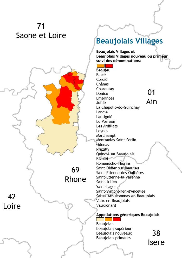 carte des vins du beaujolais villages