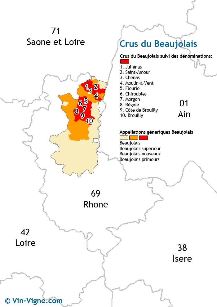 carte des vins des crus du beaujolais