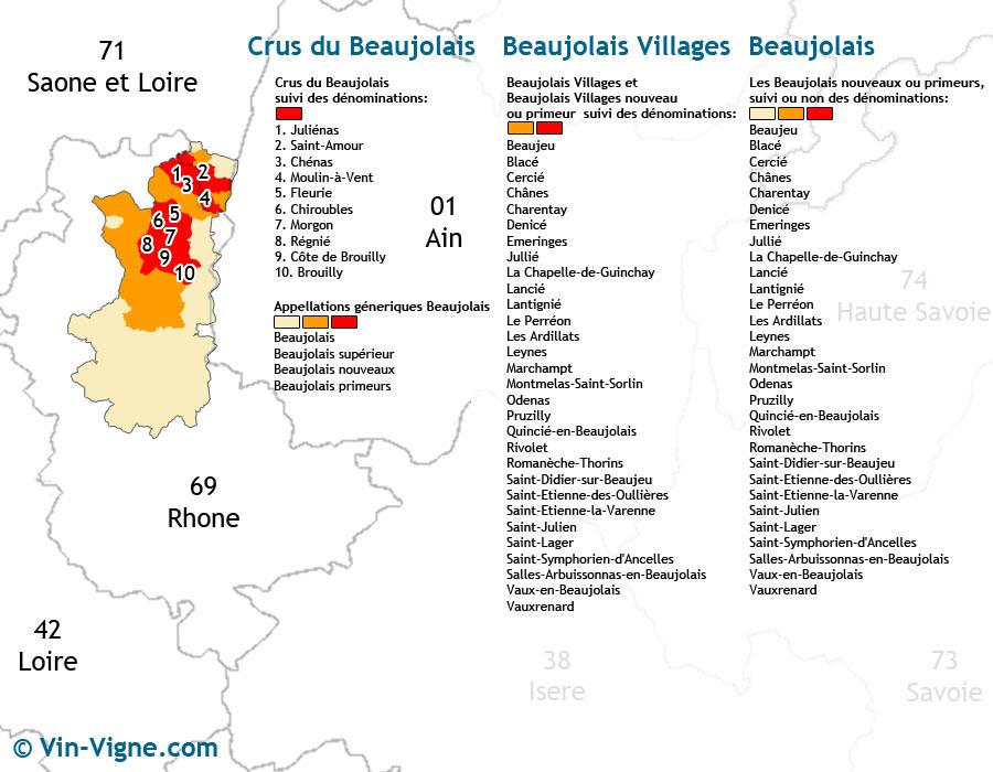 carte des vins Beaujolais