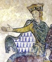 Aliénor d'Aquitaine représentée sur un mur de la chapelle Sainte Radegonde de Chinon
