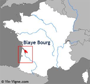 Carte de la région viticole de Blaye-bourg