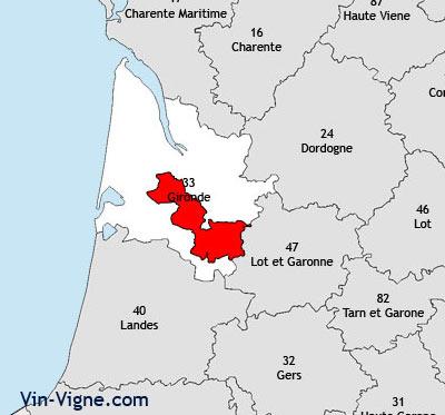 Localisation de la région viticole de Graves