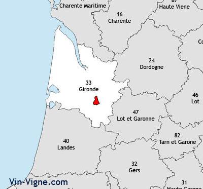 Localisation de la région viticole de Sauternes