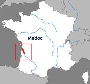 Carte de la rgion viticole du Mdoc