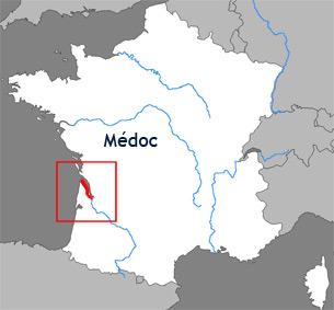Carte de la région viticole du Médoc