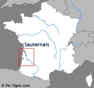 Carte de la région viticole de Sauternes