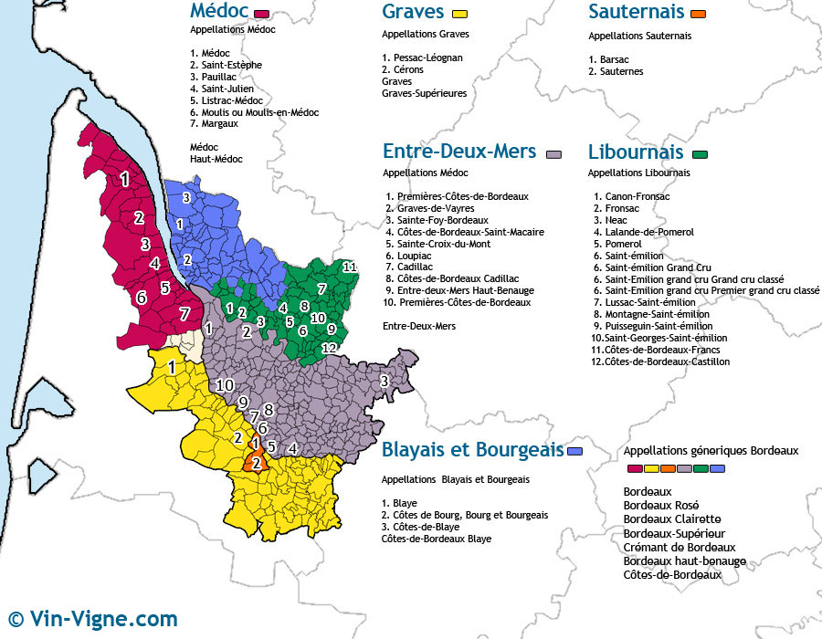 carte des vins Bordeaux