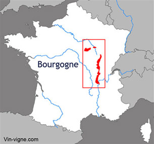 Carte du vignoble de la Bourgogne