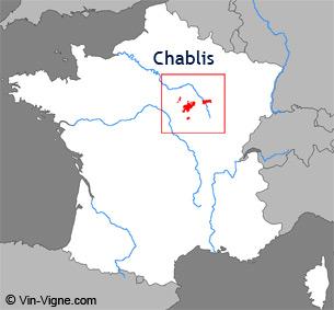 Carte de la région viticole de Chablis