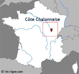 Carte de la région viticole de la Côte chalonnaise
