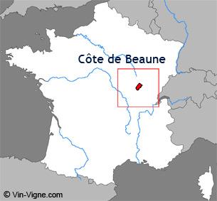 Carte de la région viticole de la Côte de beaune