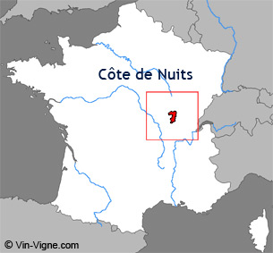 Carte de la région viticole de la Côte de nuits