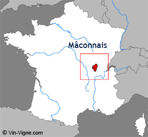 Carte de la région viticole de Mâcon