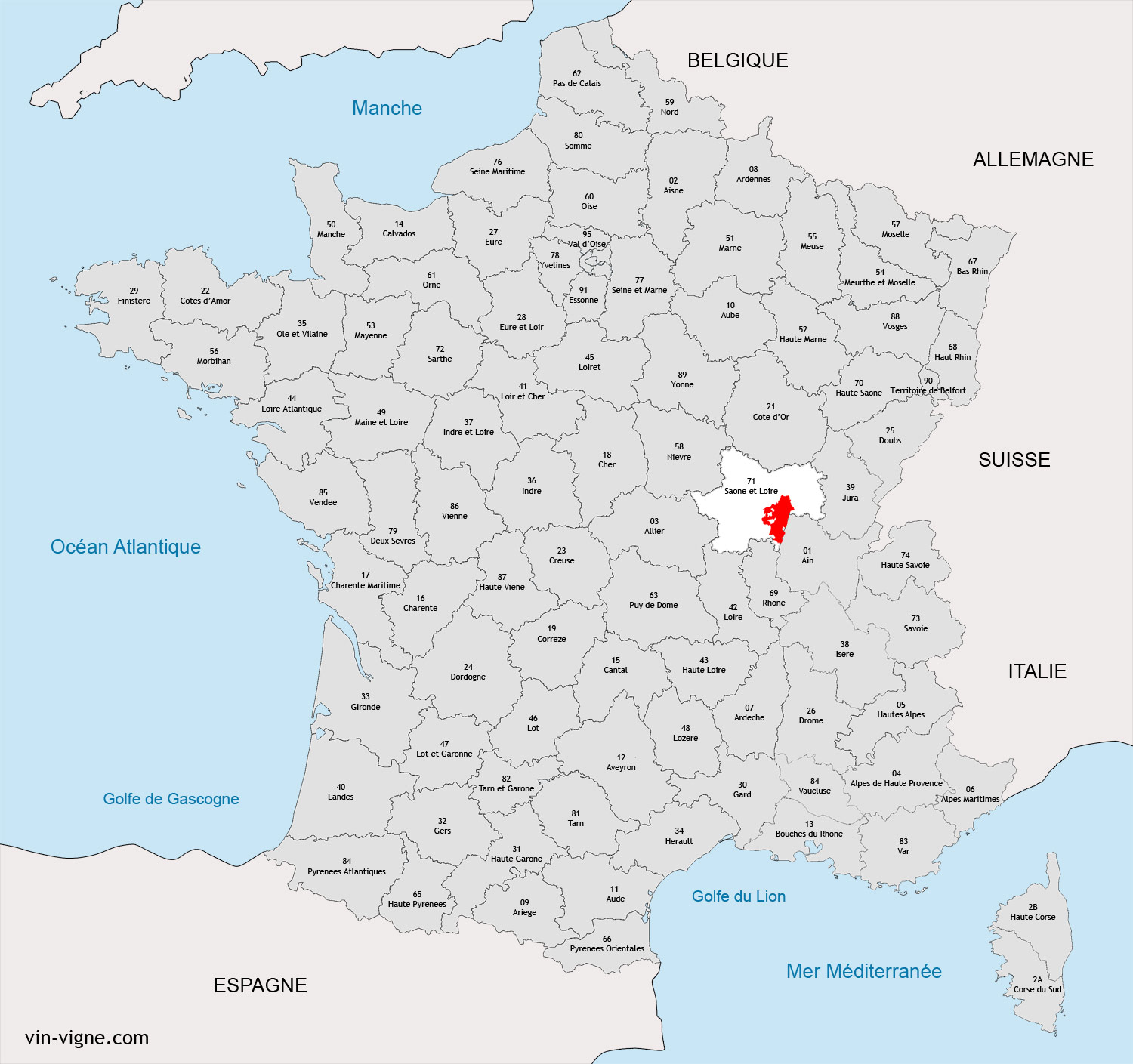macon sur la carte de france