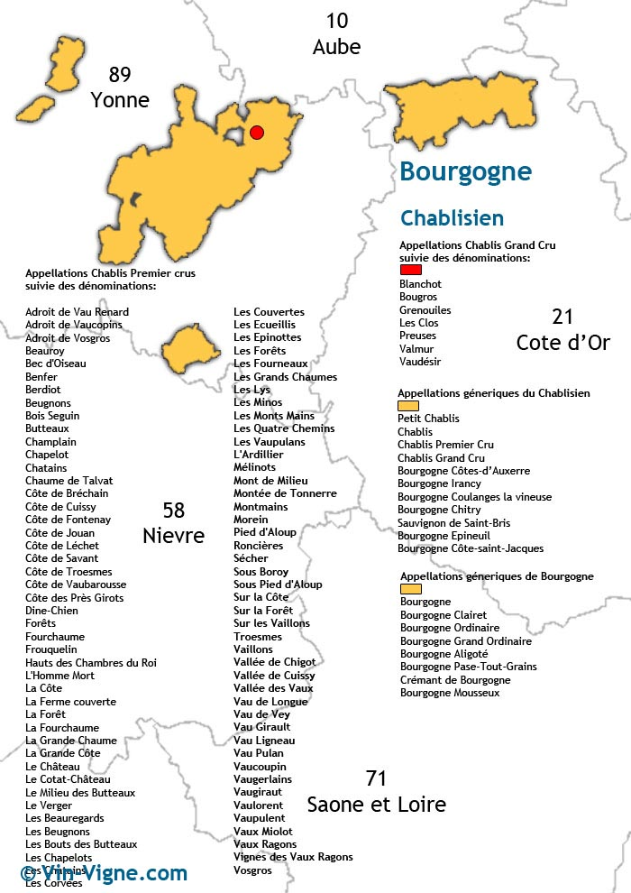 carte des vins de chablis
