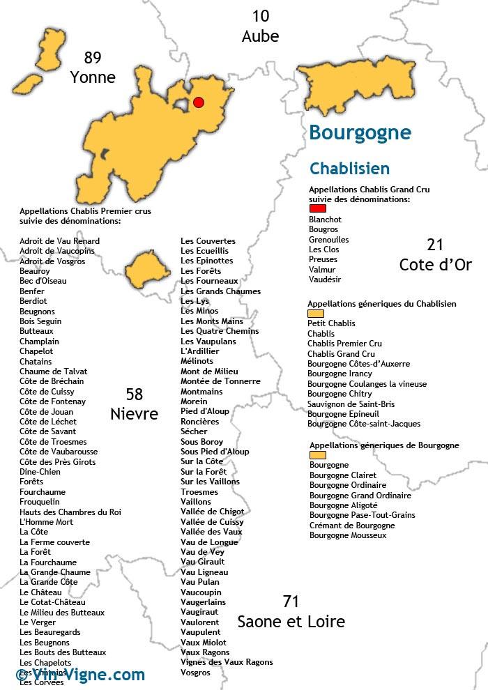 carte des vins de chablis