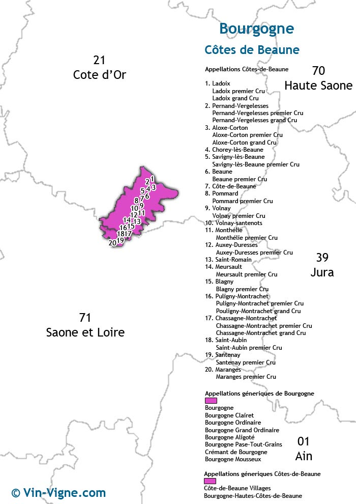 carte des vins de la côte de beaune