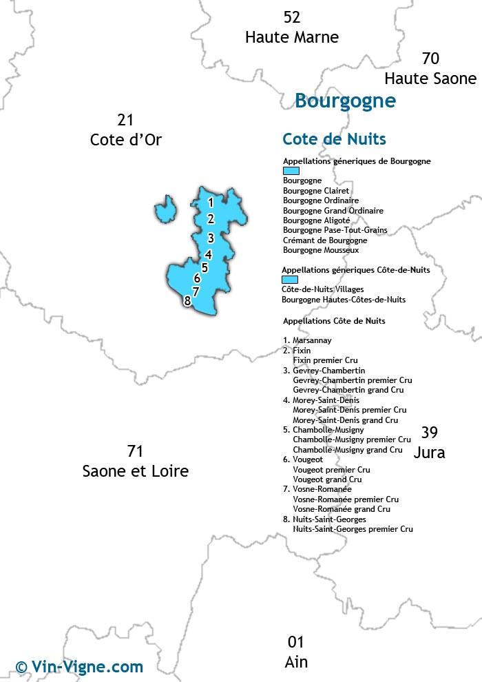 carte des vins de la côte de nuits