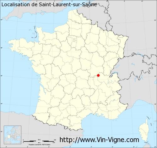 Carte de Saint-Laurent-sur-Saône
