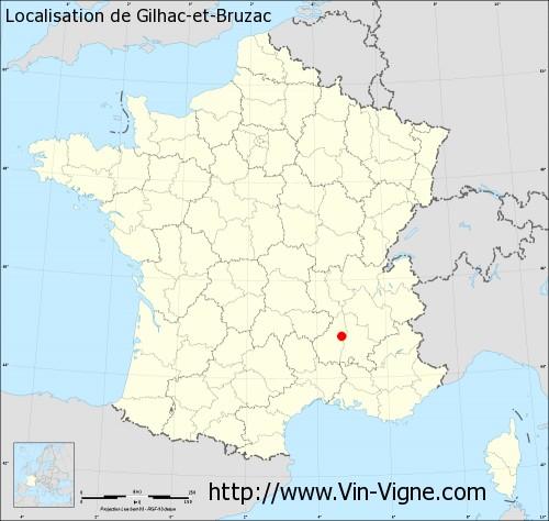 Carte de Gilhac-et-Bruzac