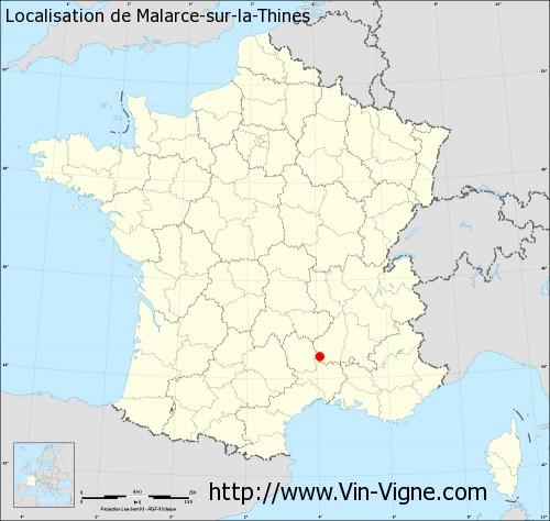 Carte de Malarce-sur-la-Thines