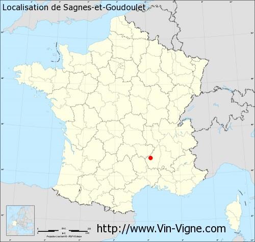 Carte de Sagnes-et-Goudoulet
