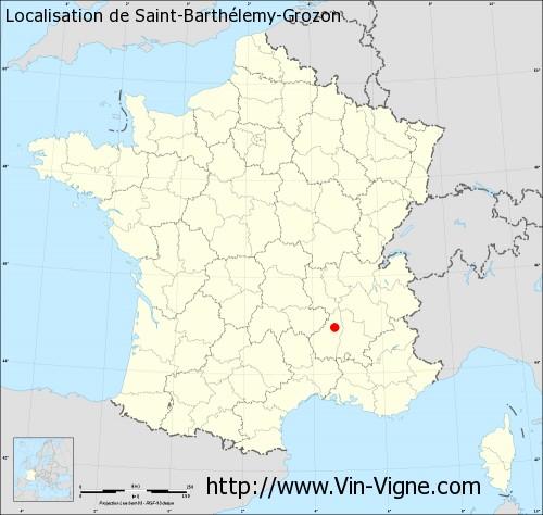 Carte de Saint-Barthélemy-Grozon