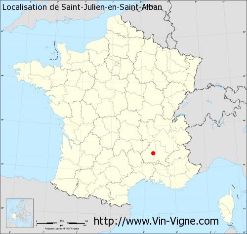 Carte de Saint-Julien-en-Saint-Alban