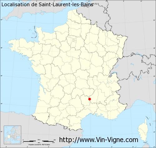 Carte de Saint-Laurent-les-Bains