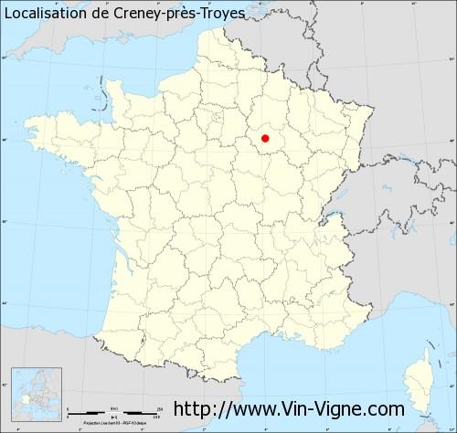 Carte de Creney-près-Troyes