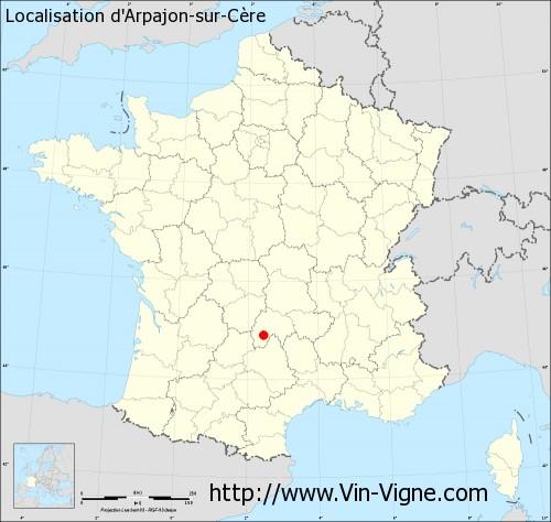 Carte d'Arpajon-sur-Cère