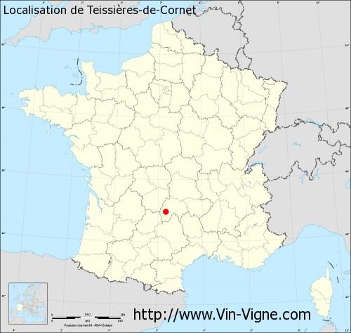 Carte de Teissières-de-Cornet
