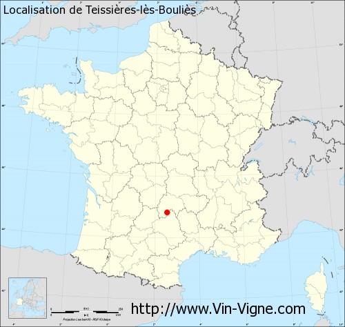 Carte de Teissières-lès-Bouliès