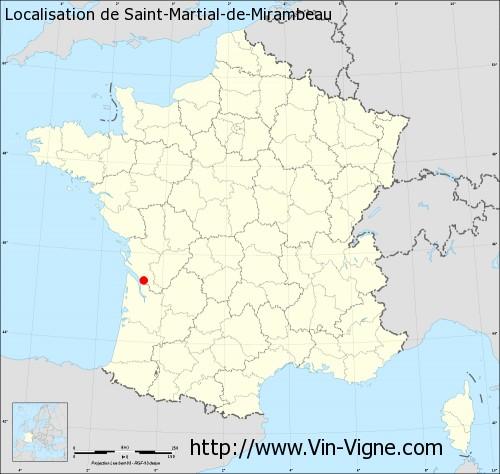 Carte de Saint-Martial-de-Mirambeau