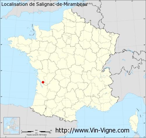 Carte de Salignac-de-Mirambeau