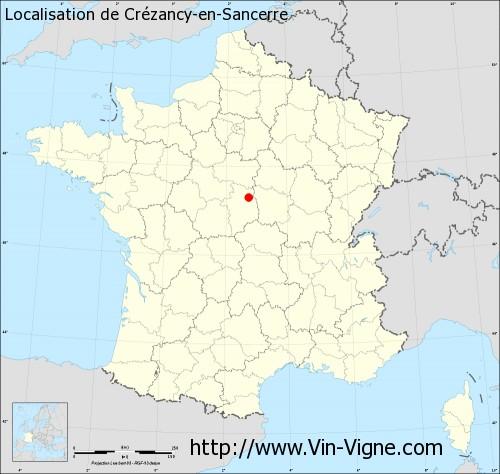 Carte de Crézancy-en-Sancerre