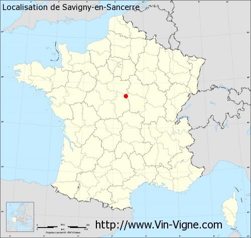 Carte de Savigny-en-Sancerre