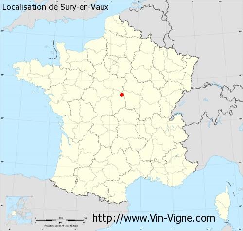 Carte de Sury-en-Vaux