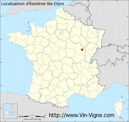 Carte d'Asnières-lès-Dijon