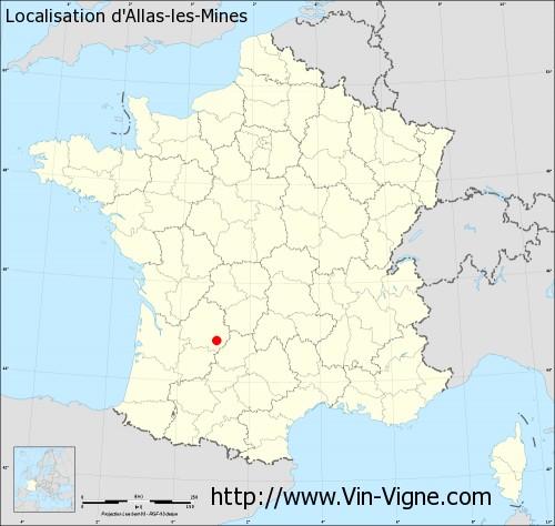 Carte d'Allas-les-Mines