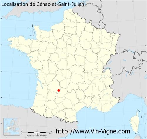 Carte de Cénac-et-Saint-Julien