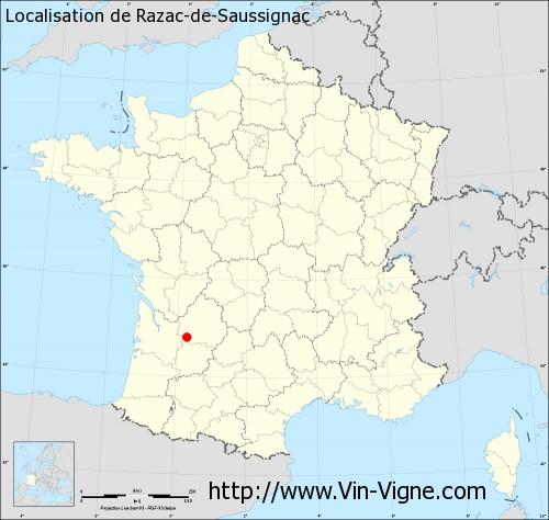 Carte de Razac-de-Saussignac